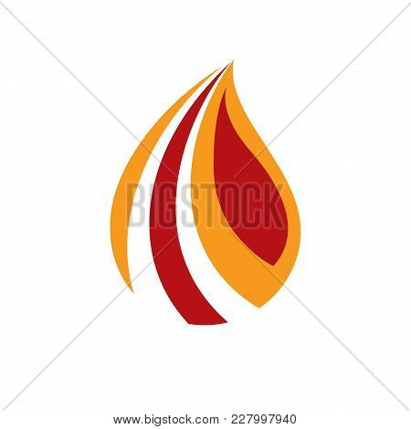 The Power Of Burning Fire, Nature Element Vector Illustration For Use In Petrol And Gas Advertising.