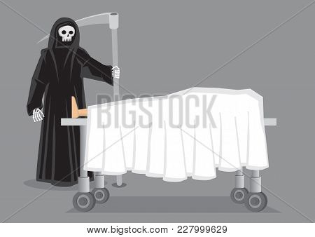 Skeletal Figure In Black Hooded Cloak Carrying A Scythe Standing Beside A Corpse Draped In White She