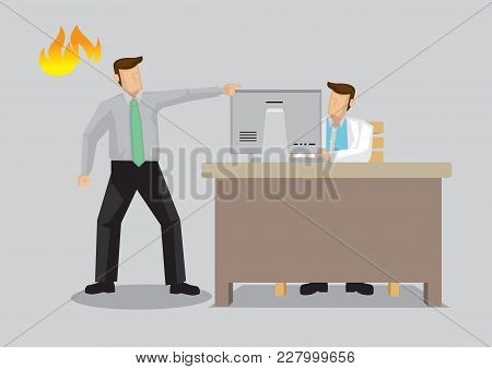 Cartoon Vector Illustration Of Angry Man Making A Din At Doctors Office Isolated On Plain Background