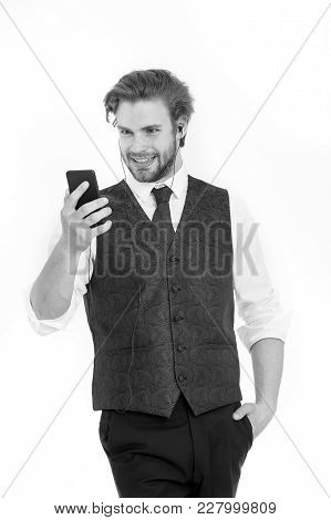 Businessman Or Ceo Listen Music. Man In Formal Outfit With Mobile Phone. Manager With Beard On Smili