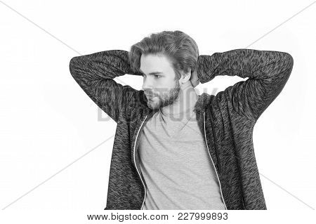 Man With Beard On Face In Grey Sportswear Isolated On White
