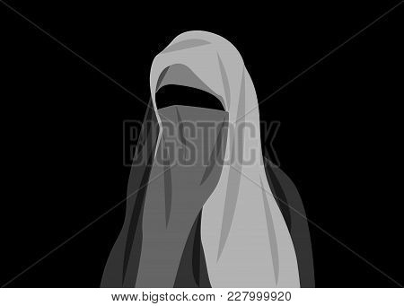 Beautiful Portrait Of Arabic Muslim Woman Closed Face Veil, Vector Illustration Isolated Or Black Ba