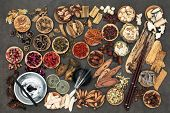 Chinese alternative medicine with herbs, acupuncture needles, moxa sticks used in moxibustion therapy and feng shui coins. Top view.  poster
