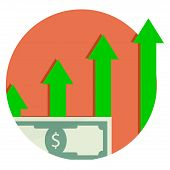 Capitalization is financial growth. Capital Growth Icon. Vector salary raise, profit currency cash illustration poster