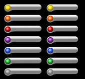 Light gray plastic buttons with colored balls for Web or software interface on black background poster