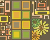Retro brown green orange and yellow squares rectangle and flowers design poster