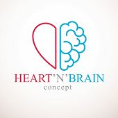 Heart and Brain concept, conflict between emotions and rational thinking, teamwork and balance between soul and intelligence. Vector logo or icon design. poster