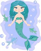 Cartoon, cute little mermaid, sea princess, siren, with blue hair, open eyes and a forked tail poster