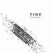 Dirt track from the car wheel protector. Tire track silhouette. Grunge tire track. Black tire track. Vector illustration poster