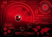 HUD GUI Radar monitor screen. Futuristic game technology outer space background. Red User interface world map, business abstract infographic template. Virtual head-up display elements for app. Vector. poster