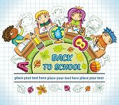 Colorful round composition, with cute schoolchildren and school design elements. with space for your text poster