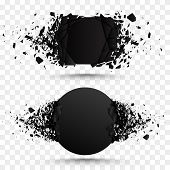 Set of black explosion banners. Square and circle destruction shapes with debris isolated on checkered background. 3d effect of particles. poster