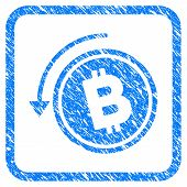 Refund Bitcoin Cash rubber seal stamp watermark. Icon vector symbol with grunge design and corrosion texture inside rounded square frame. Scratched blue sign on a white background. poster