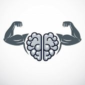 Power Brain emblem, genius concept. Vector design of human anatomical brain with strong bicep hands of bodybuilder. Brain training, grow IQ, mental health. poster