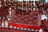 Interior decoration of Turkmenistan in a yurt and outside. poster