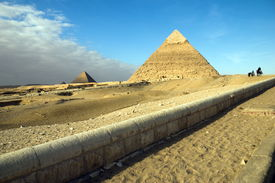 Egypt. Giza. View of the Hefren and Mikerin pyramids.