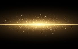 Abstract Stylish Light Effect On A Black Background. Gold Glowing Neon Line. Golden Luminous Dust An