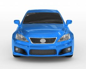 car isolated on white - blue paint, tinted glass - front view - 3d rendering