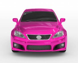 Car Isolated On White - Purple Paint, Tinted Glass - Front View - 3d Rendering