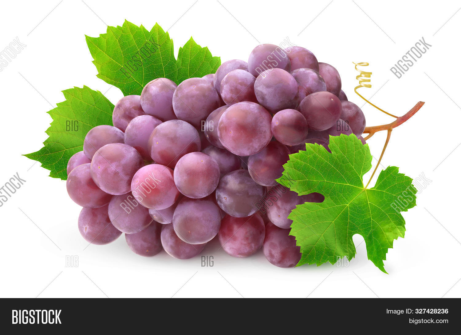 Isolated Grapes. Pile Of Red Grapes With Leaves And Stem Isolated On White Background With Clipping