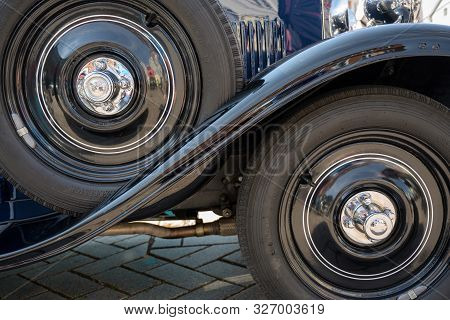 Ratzeburg, Germany - June 3, 2019: Historic Opel, Front Wheel, Mudguard And Spare Wheel Of The Class
