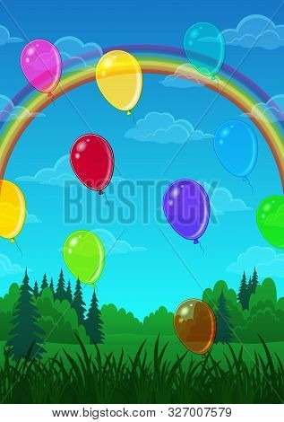 Landscape Background, Colorful Balloons Over The Green Summer Forest, Blue Sky With Bright Rainbow A