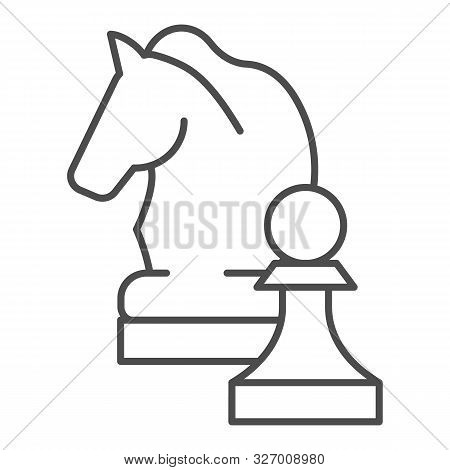 Chess Knight Thin Line Icon. Chess Horse Vector Illustration Isolated On White. Equine Outline Style