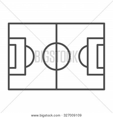 Football Field Thin Line Icon. Pitch Vector Illustration Isolated On White. Stadium Outline Style De