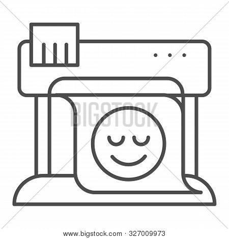 Plotter Thin Line Icon. Large Format Printer Vector Illustration Isolated On White. Print Machine Ou