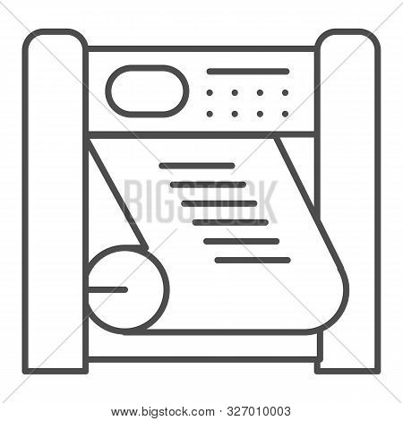 Plotter Printing Thin Line Icon. Large Format Printer Vector Illustration Isolated On White. Printin