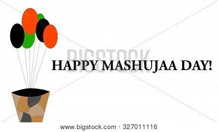 Nairobi, Kenya - October 10: Happy Mashujaa Day Words And A Background With Balloons And A Plant Pot