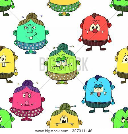 Seamless Background For Your Design With Different Cartoon Monsters, Colorful Tile Pattern With Cute