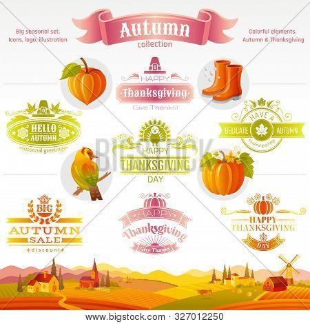 Thanksgiving Icon Logo Festival Set. Turkey, Pumpkin, Pie, Autumn Leaf, Fall Harvest Vegetables Frui
