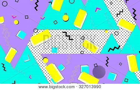 Geometric Blue Wallpaper. Purple Dot Banner. Cartoon Ornament. Yellow Background. Minimal Drawing. L
