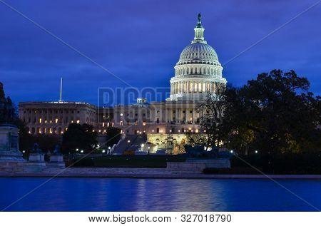 United States Capitol Building at night - Washington DC United States of Ameria