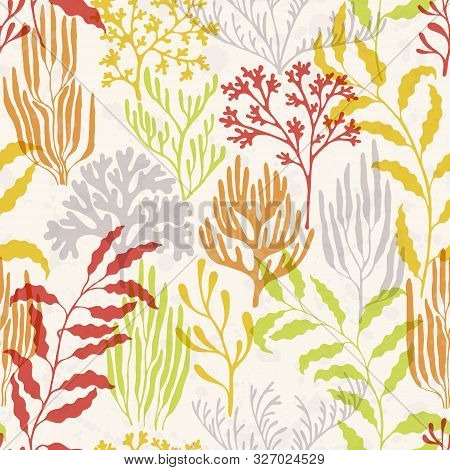 Ocean Corals Seamless Pattern. Kelp Laminaria Seaweed Algae Background. Underwater Plants Textile Pr