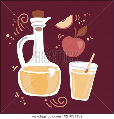 Modern Vector Illustration Apple Cider Vinegar. Pitcher With Fermented Vinegar, Glass Of A Drink, An