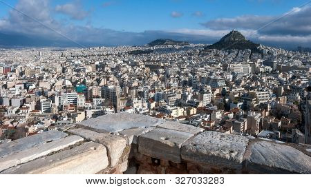 Panoramic View From Acropolis To City Of Athens, Attica, Greece