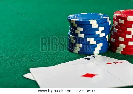 Chips And Cards For The Poker.