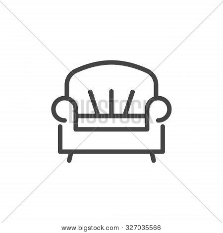 Sofa Icon In Linear Design. Room Service Label, Symbol For Site Of Hotels, Hostels, Apartments Booki
