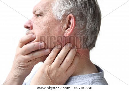 senior with neck and jaw stiffness