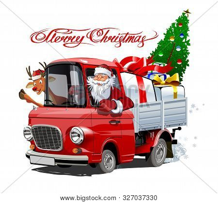 Vector Christmas Card With Cartoon Retro Christmas Delivery Truck, Santa, Reindeer And Christmas Let