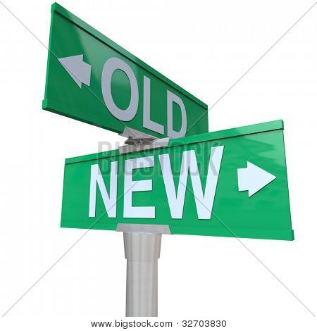 A green two-way street sign pointing to Old and New, letting you choose for something older or newer, deciding the benefits or advantage of youth or experience