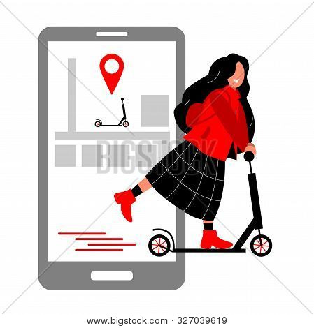 Scooter Rental In The City Using Your Phone. Scooters And Smartphone With A City Map. The Girl Rente