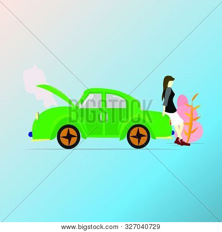 Woman Sitting On The Back Of A Green Car ,car Parked Due Damage Of Engine,engine Smoke Due To Overhe