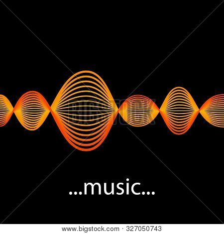 Vector Sound Waveforms. Sound Waves And Musical Pulse Icons.