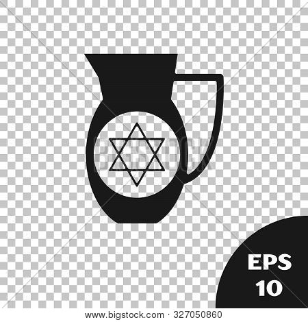 Black Decanter With Star Of David Icon Isolated On Transparent Background. Pottery Jug. Organic Prod