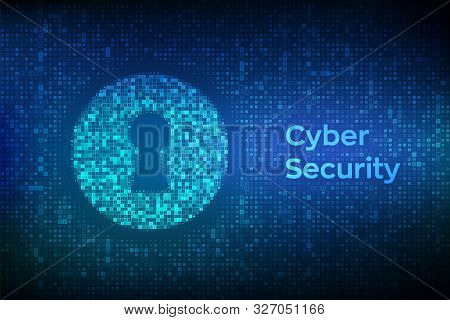 Digital Keyhole. Concept Of Cyber Security, Firewall, Network Security, Data Encryption. Digital Bin