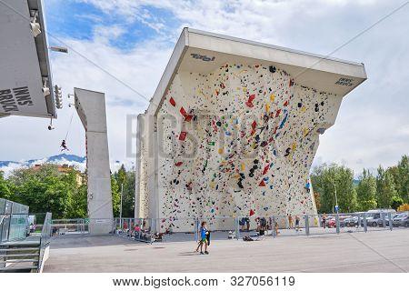 Innsbruck, Austria - August 19, 2019: Kletterzentrum Innsbruck (climbing Center Innsbruck) Impressiv