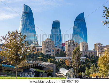 Baku, Azerbaijan, Novemver 07.2016: Flame Towers, The Symbol Of The Capital Of Azerbaijan, With Faca